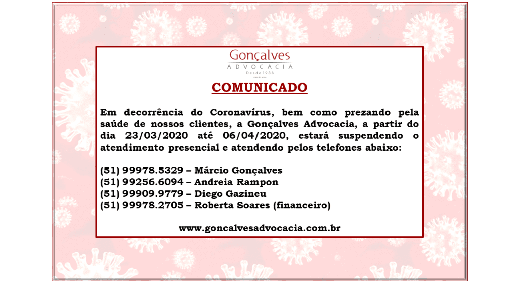 Coronavírus: suspensão atendimento presencial